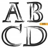 art sketched set of vector grunge character classic black fonts, uppercase symbols, letters A, B, C, D