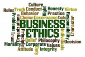 Business Ethics Word Cloud on White Background