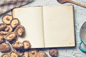 the blank cookbook and shiitake