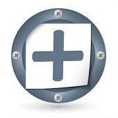Dark Abstract Icon With Paper And Plus Symbol
