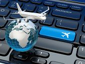 Online ticket booking. Airplane and earth on laptop keyboard. 3d