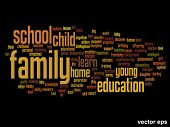 Vector eps concept or conceptual family education abstract word cloud on black background