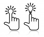 hand lightbulb icon design element