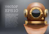 Background of Underwater diving suit helmet. Vector Illustration