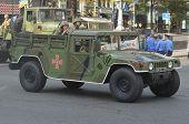 KIEV, UKRAINE - AUG 24, 2014.Ukrainian army during President Poroshenko Victory parade in downtown.