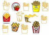 Cartoon french fries takeaway food designs