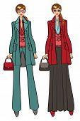 Several lovely trendy girls. Fashion Illustration