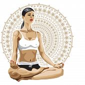 Woman practicing yoga in lotus pose.Paisley  background