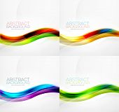 Collection of wave layouts - 4 colorful abstract hi-tech futuristic backgrounds