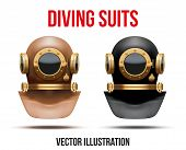 Set of Underwater diving suit helmet. Vector Illustration