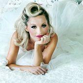 Romantic Blonde Woman Posing In Bed