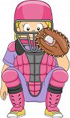 Illustration of a Girl Dressed in Baseball Gear Assuming a Catcher's Position