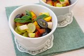 Fruit Salad In White Dishes