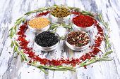 Spices with herbs on wooden background