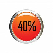 Internet Button. 40 Percent Discount Icon On White Background.