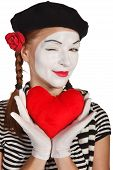 foto of clown rose  - Happy mime comedian isolated on white background - JPG