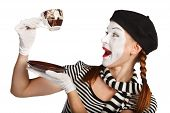 foto of clown rose  - Mime comedian drinking coffee isolated on white background - JPG