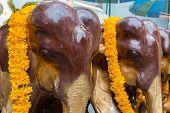 Wood Elephants at Erawan Shrine in Bangkok