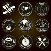 image of chinese menu  - Black and White chalk board Retro Badges Set for Restaurant Menu Designs - JPG