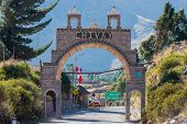 Chivay gateway in the peruvian Andes at Arequipa Peru