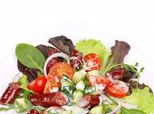 Salad with sausages. Close up.