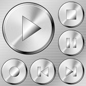 Media buttons set in brushed steel style.