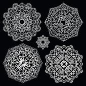 Round lace pattern set. Mandala.