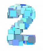 3D Multiple Blue Tiled Number Two 2 Fragmented On White
