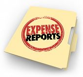 Expense Report words stamped on a manila folder collecting a file of receipts and other documents for payment reimbursement