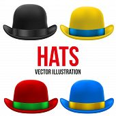 Set of colorful bowler hats. Vector Illustration.