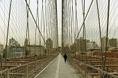 stock photo of brooklyn bridge  - walk way on brooklyn bridge with pedestrian - JPG