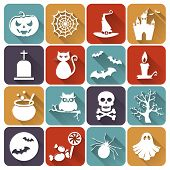 Halloween Flat Icons. Vector Set.