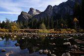 View of Yosemite from the Merced River in Fall