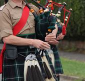 picture of kilt  - The Playing of Traditional Scottish Highland Bagpipes.