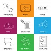 Social Media Icons Of Friends, Community, Videos & Photos - Concept Vector
