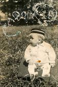 SIERADZ, POLAN -, CIRCA FIFTIES: Vintage photo of baby boy.