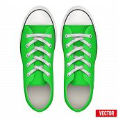 pair of green simple sneakers. Realistic Vector Illustration.