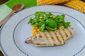 Chicken Steak With Garlic And Lemon, Salad
