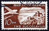 Postage Stamp Yugoslavia 1951 Plane Over Ohrid