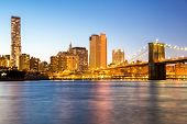 New York mid town with Brooklyn bridge at dusk, USA
