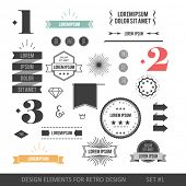 Hipster style infographics elements set for retro design. With ribbons, labels, rays, numbers, arrow