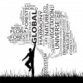 Concept or conceptual black ecology text word cloud as tree and grass, a man jumping isolated on whi