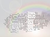 Concept or conceptual abstract green energy and ecology and conservation word cloud text, rainbow su