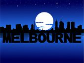 Melbourne skyline reflected with text and moon vector illustration