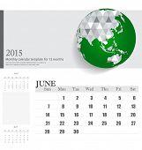 Simple 2015 calendar, June. Vector illustration.
