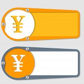 Set Of Two Boxes For Any Text With Yen Symbol