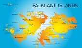 stock photo of darwin  - Vector color map of Falkland islands  - JPG