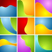 Abstract bright wavy backgrounds. Vector collection
