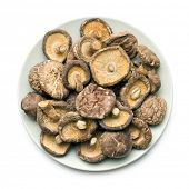pic of edible mushrooms  - dried shiitake mushrooms on table - JPG