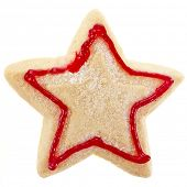 christmas cookies star surface top view close up macro shot isolated on a white background